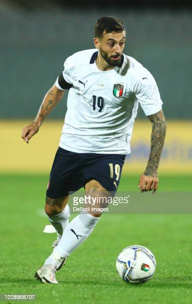 Francesco Caputo of Italy controls the ball during the international friendly match between Italy and Moldova at Artemio Franchi on October 7, 2020...