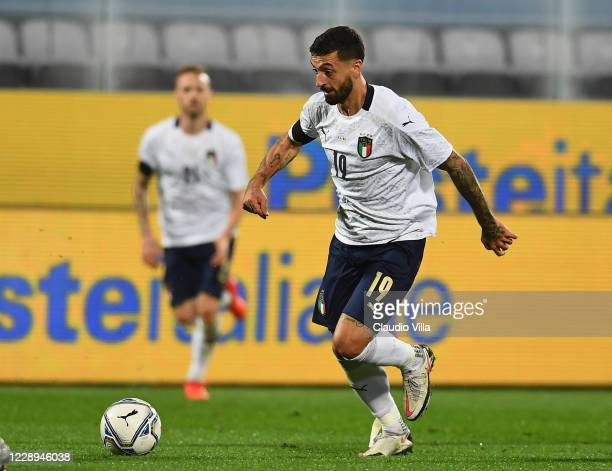Francesco Caputo of Italy in action during the international friendly match between Italy and Moldova at Artemio Franchi on October 7, 2020 in...