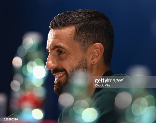 Francesco Caputo of Italy speaks with the media during a press conference at Centro Tecnico Federale di Coverciano on September 1, 2020 in Florence,...