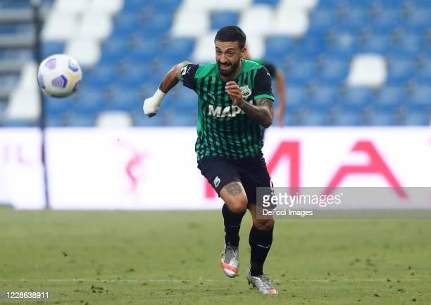 Francesco Caputo of Sasssuolo controls the ball during the Serie A match between US Sassuolo and Cagliari Calcio at Mapei Stadium Citta del Tricolore...