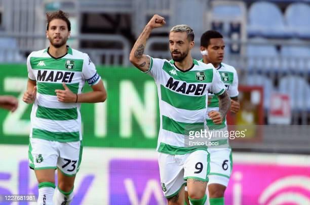 Francesco Caputo of Sassuolo celebrates after scoring goal 01 during the Serie A match between Cagliari Calcio and US Sassuolo at Sardegna Arena on...