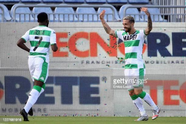 Francesco Caputo of Sassuolo celebrates after scoring the 01 goal during the Serie A match between Cagliari Calcio and US Sassuolo at Sardegna Arena...
