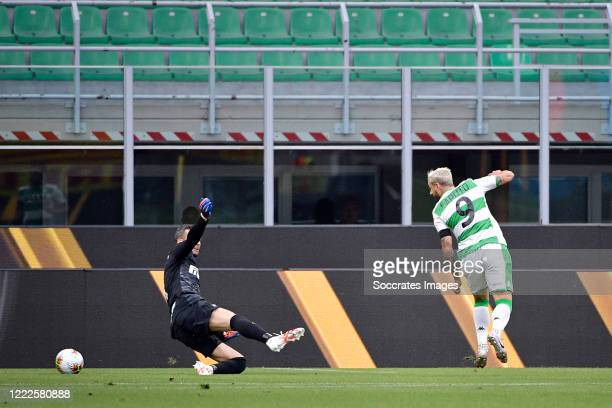 Francesco Caputo of Sassuolo scores the first goal to make it 01 during the Italian Serie A match between Internazionale v Sassuolo at the San Siro...