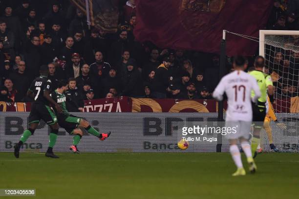 Francesco Caputo of Sassuolo scores the opening goal during the Serie A match between US Sassuolo and AS Roma at Mapei Stadium - Città del Tricolore...