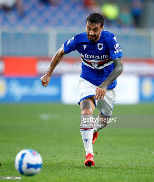 Francesco Caputo of UC Sampdoria controls the ball during the Serie A match between UC Sampdoria and SSC Napoli at Stadio Luigi Ferraris on September...