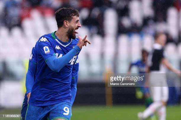 Francesco Caputo of Us Sassuolo Calcio celebrate after scoring a goal during the the Serie A match between Juventus Fc and Us Sassuolo Calcio. The...