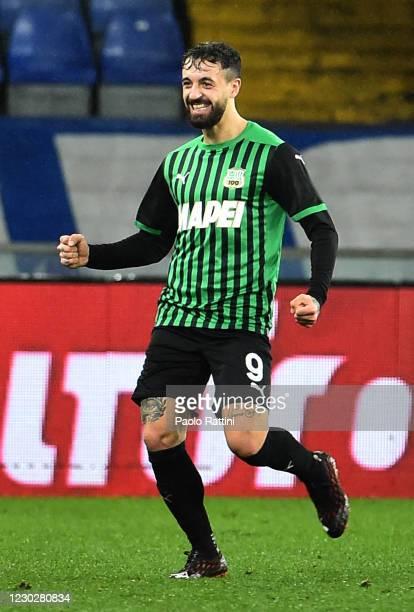Francesco Caputo of US Sassuolo celebrates after score 2-1 during the Serie A match between UC Sampdoria and US Sassuolo at Stadio Luigi Ferraris on...