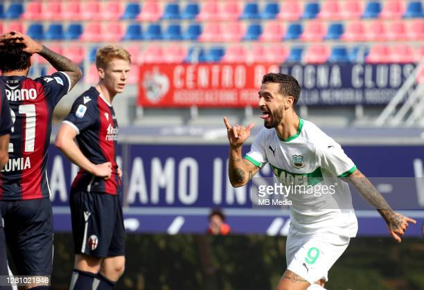 Francesco Caputo of Us Sassuolo celebrates after scored his goal ,during the Serie A match between Bologna FC and US Sassuolo at Stadio Renato...