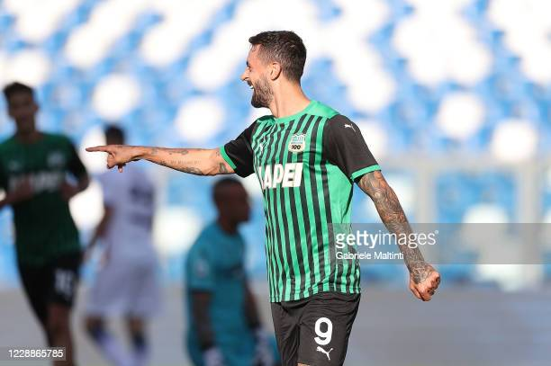 Francesco Caputo of US Sassuolo celebrates after scoring a goal during the Serie A match between US Sassuolo and FC Crotone at Mapei Stadium - CittÃ...