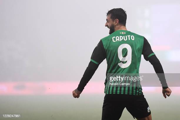 Francesco Caputo of US Sassuolo celebrates after scoring a goal during the Serie A football match between US Sassuolo and Torino FC. The match ended...