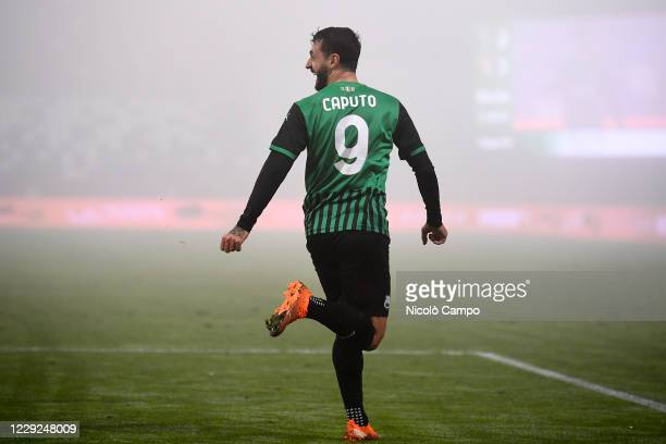 Francesco Caputo of US Sassuolo celebrates after scoring a goal during the Serie A football match between US Sassuolo and Torino FC The match ended...