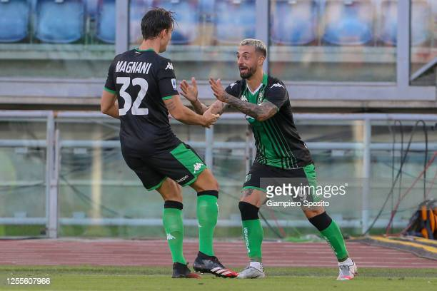 Francesco Caputo of US Sassuolo celebrates after scoring a goal during the Serie A match between SS Lazio and US Sassuolo at Stadio Olimpico on July...