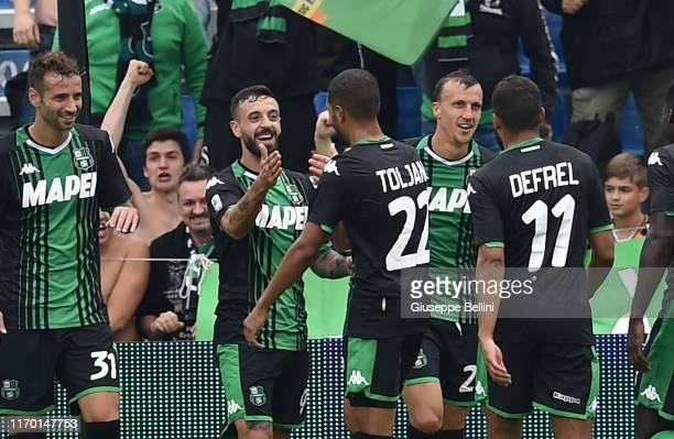 Francesco Caputo of US Sassuolo celebrates after scoring goal 20 during the Serie A match between US Sassuolo and SPAL at Mapei Stadium Città del...