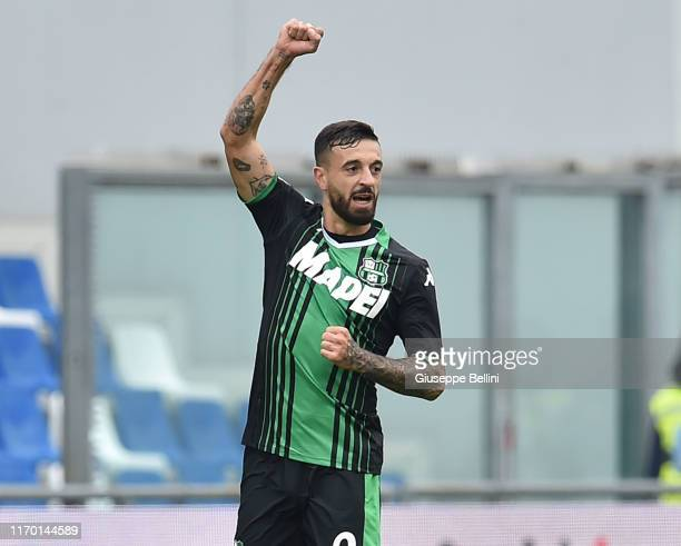 Francesco Caputo of US Sassuolo celebrates after scoring opening goal during the Serie A match between US Sassuolo and SPAL at Mapei Stadium Città...