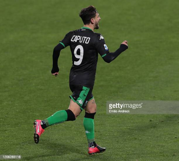 Francesco Caputo of US Sassuolo celebrates after scoring the opening goal during the Serie A match between US Sassuolo and Brescia Calcio at Mapei...