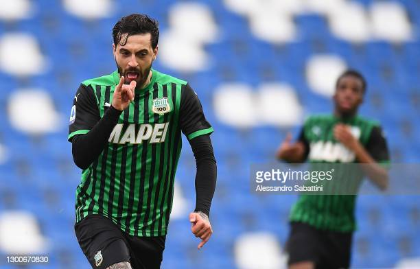 Francesco Caputo of US Sassuolo celebrates after scoring the opening goal during the Serie A match between US Sassuolo and Spezia Calcio at Mapei...