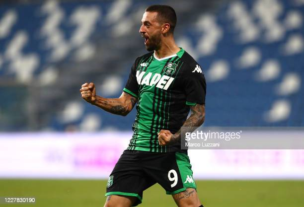 Francesco Caputo of US Sassuolo celebrates his goal during the Serie A match between US Sassuolo and Genoa CFC at Mapei Stadium - Citta del Tricolore...