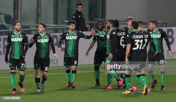 Francesco Caputo of US Sassuolo celebrates his second goal with his teammates during the Serie A match between US Sassuolo and Brescia Calcio at...