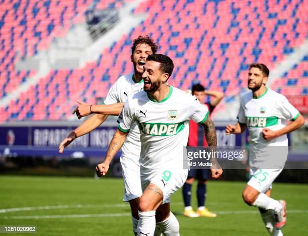 Francesco Caputo of Us Sassuolo celebrates with his team mates Manuel Locatelli and Domenico Berardi after scored his goal ,during the Serie A match...