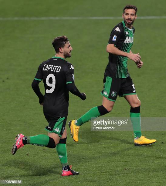 Francesco Caputo of US Sassuolo celebrates with his teammate Gian Marco Ferrari after scoring the opening goal during the Serie A match between US...