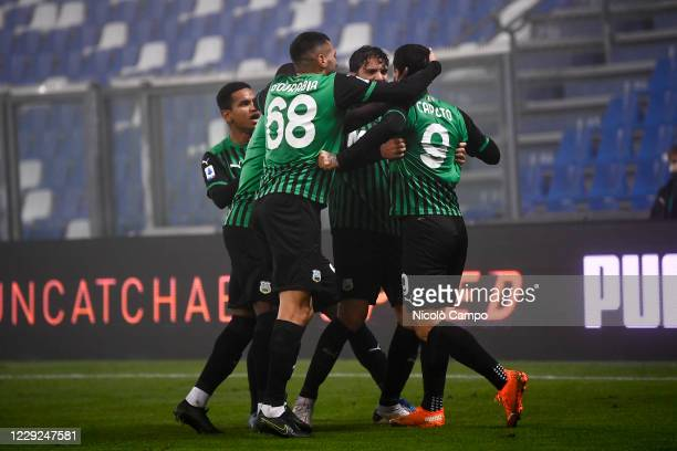 Francesco Caputo of US Sassuolo celebrates with his teammates after scoring a goal during the Serie A football match between US Sassuolo and Torino...