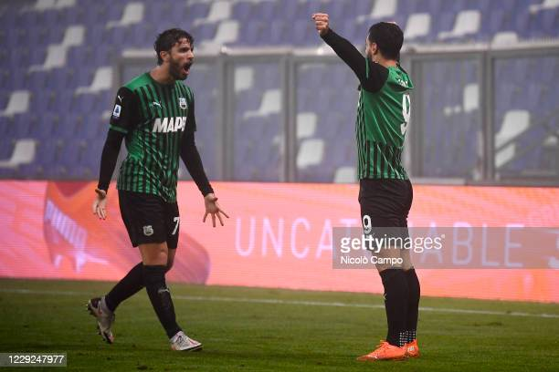 Francesco Caputo of US Sassuolo celebrates with Manuel Locatelli of US Sassuolo after scoring a goal during the Serie A football match between US...