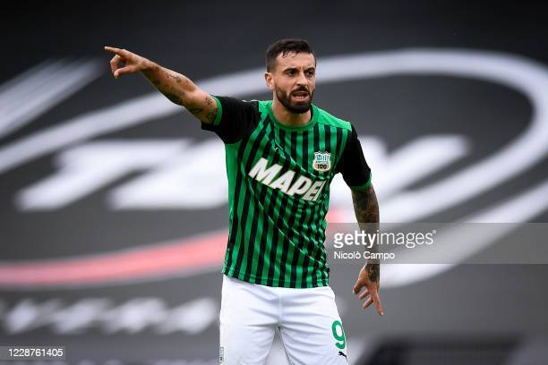 Francesco Caputo of US Sassuolo gestures during the Serie A football match between Spezia Calcio and US Sassuolo. US Sassuolo won 4-1 over Spezia...