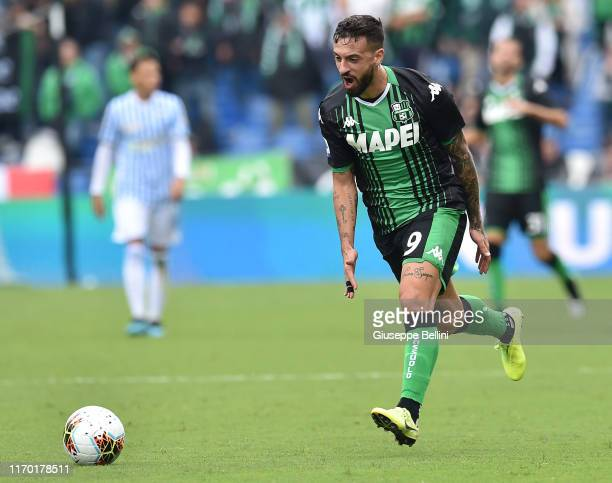 Francesco Caputo of US Sassuolo in action during the Serie A match between US Sassuolo and SPAL at Mapei Stadium Città del Tricolore on September 22...