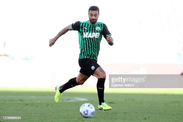 Francesco Caputo of US Sassuolo in action during the Serie A match between US Sassuolo and FC Crotone at Mapei Stadium - Città del Tricolore on...