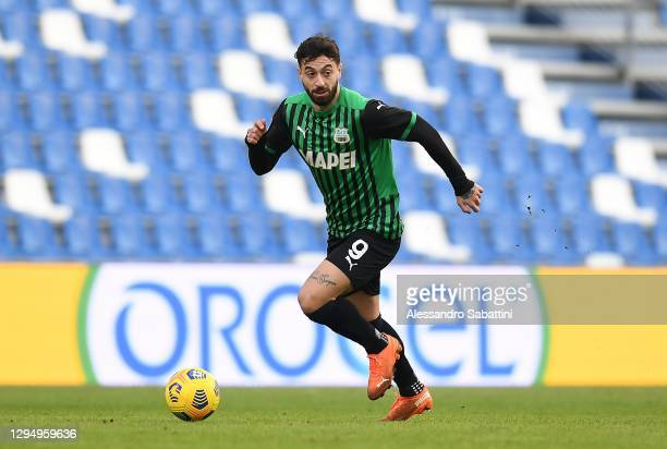 Francesco Caputo of US Sassuolo in action during the Serie A match between US Sassuolo and Genoa CFC at Mapei Stadium - Città del Tricolore on...