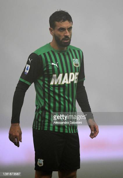 Francesco Caputo of US Sassuolo looks on during the Serie A match between US Sassuolo and Torino FC at Mapei Stadium - Città del Tricolore on October...