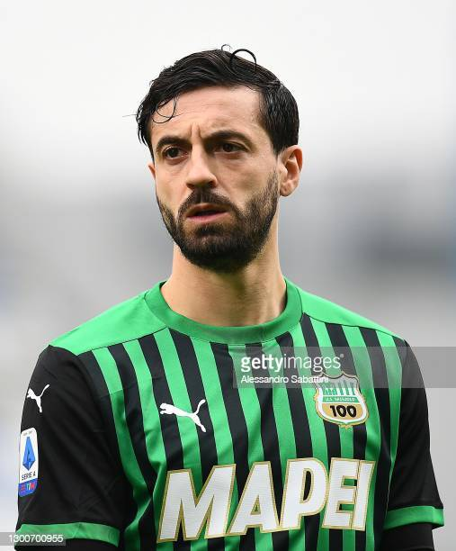Francesco Caputo of US Sassuolo looks on during the Serie A match between US Sassuolo and Spezia Calcio at Mapei Stadium - Città del Tricolore on...