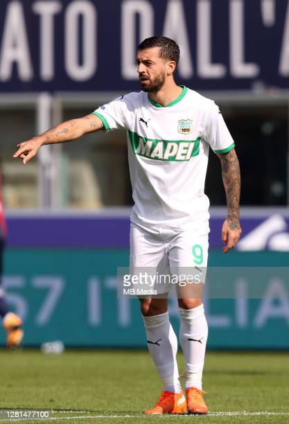 Francesco Caputo of Us Sassuolo reacts ,during the Serie A match between Bologna FC and US Sassuolo at Stadio Renato Dall'Ara on October 18, 2020 in...