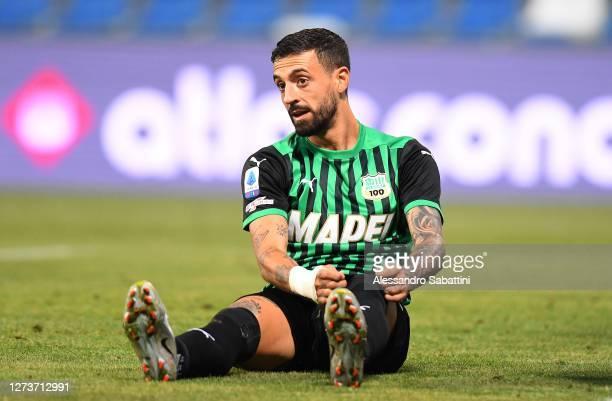 Francesco Caputo of US Sassuolo reacts during the Serie A match between US Sassuolo and Cagliari Calcio at Mapei Stadium - Città del Tricolore on...