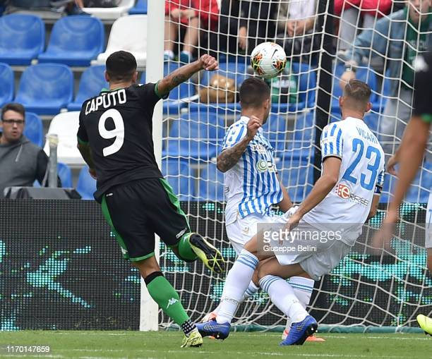 Francesco Caputo of US Sassuolo scores goal 20 during the Serie A match between US Sassuolo and SPAL at Mapei Stadium Città del Tricolore on...