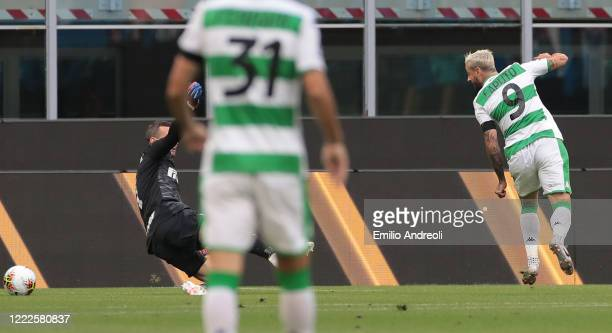 Francesco Caputo of US Sassuolo scores the opening goal during the Serie A match between FC Internazionale and US Sassuolo at Stadio Giuseppe Meazza...