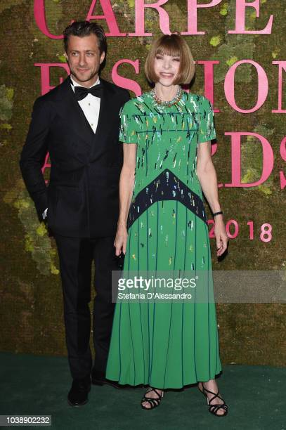 Francesco Carrozzini and Anna Wintour ttends the Green Carpet Fashion Awards at Teatro Alla Scala on September 23 2018 in Milan Italy