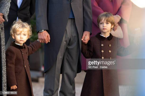 Francesco Casiraghi and Stefano Casiraghi attend the celebrations marking Monaco's National Day at the Monaco Palace, on November 19, 2020 in...