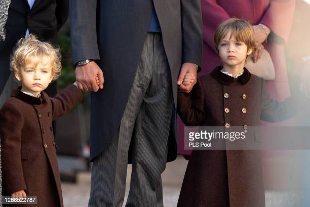 Francesco Casiraghi and Stefano Casiraghi attend the Monaco National day celebrations in the courtyard of the Monaco palace on November 19, 2020 in...