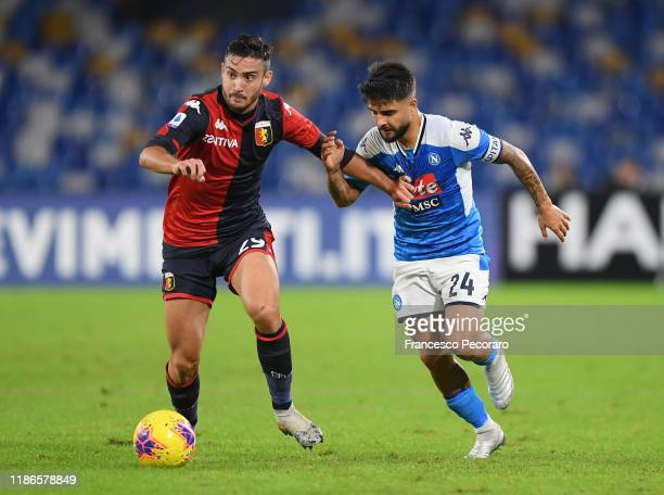 Francesco Cassata of Genoa CFC vies with Lorenzo Insigne of SSC Napoli during the Serie A match between SSC Napoli and Genoa CFC at Stadio San Paolo...