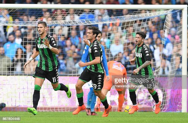 Francesco Cassata Stefano Sensi and Diego Falcinelli of US Sassuolo celebrate the 11 goal scored by Diego Falcinelli during the Serie A match between...