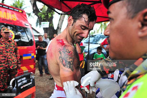 Francesco Chicchi from Androni GiocattoliSidermec Team getting Medical attention at the finish line after he crashed during the seventh stage of the...