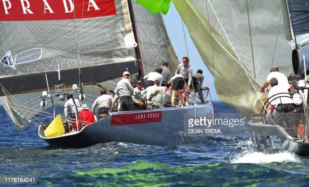 Francesco de Angelis at the helm of Italy's Prada Challenge syndicate yacht Luna Rossa looks back at AmericaOne after rounding the third windward...