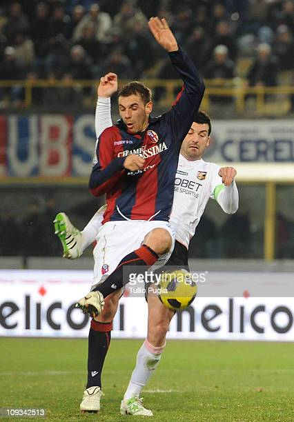 Francesco Della Rocca of Bologna is challenged by Cesare Bovo of Palermo during the Serie A match between Bologna FC and US Citta di Palermo at...