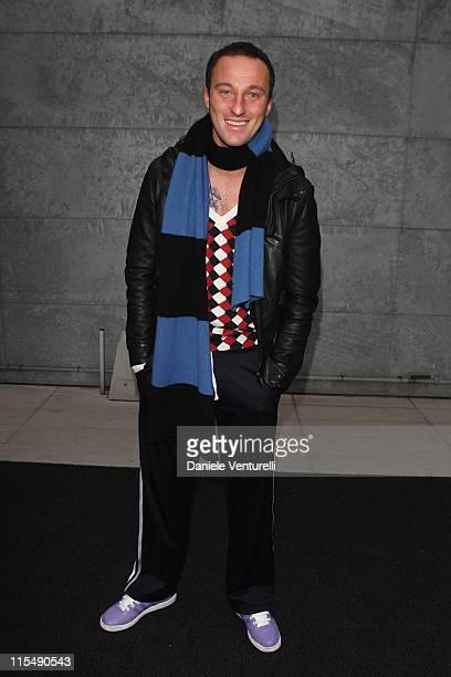 Francesco Facchinetti attends the Emporio Armani fashion show as part of Milan Fashion Week Autumn/Winter 2008/09 on February 17, 2008 in Milan,...