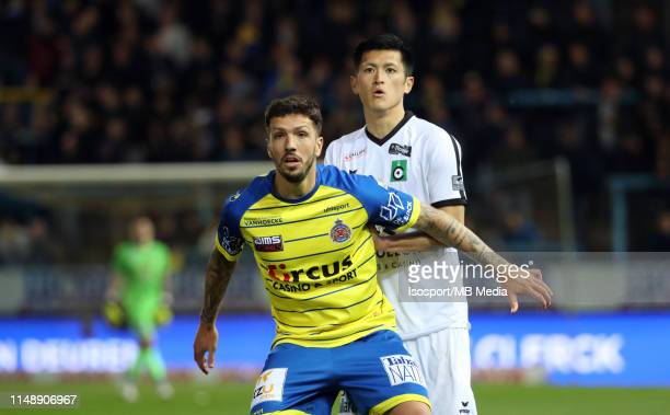 Francesco Forte of Beveren and Naomichi Ueda of Cercle in action during the Jupiler Pro League playoff 2 group B match between WaaslandBeveren and...