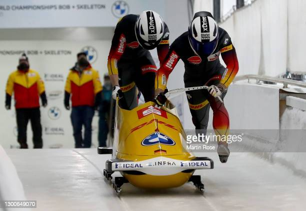 Francesco Friedrich and Alexander Schueller of Germany compete during the IBSF World Championships 2021 Altenberg 2-Man Bobsleigh competition at the...