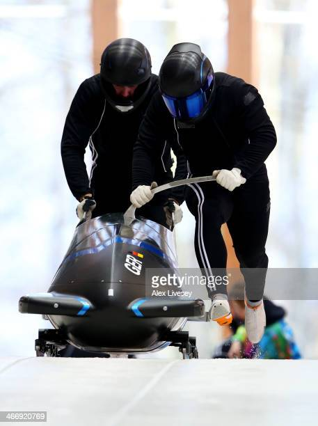 Francesco Friedrich and Jannis Baecker of Germany practise a bobsleigh run ahead of the Sochi 2014 Winter Olympics at the Sanki Sliding Center on...