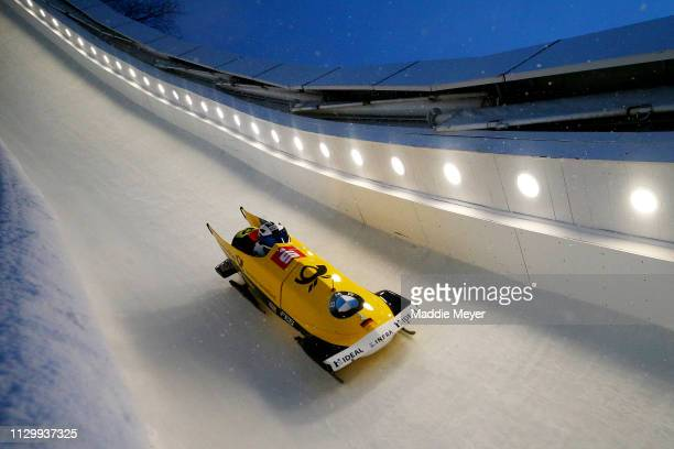 Francesco Friedrich and Thorsten Margis of Germany compete in the second run of the twoman bobsled race on day 1 of the 2019 IBSF World Cup Bobsled...