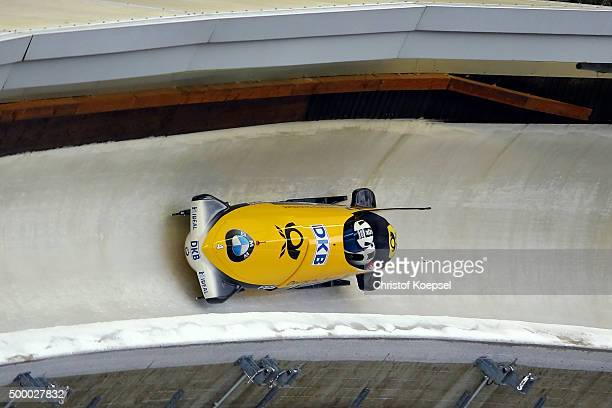 Francesco Friedrich and Thorsten Margis of Germany compete in their second run of the two men's bob competition during the BMW IBSF Bob & Skeleton...